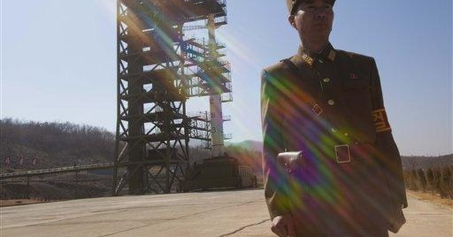 Rocket in position at launch pad in North Korea
