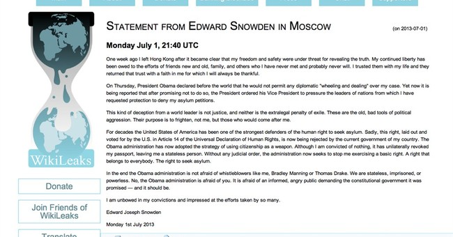 Snowden and Wikileaks: The Terrorists' Best Friends
