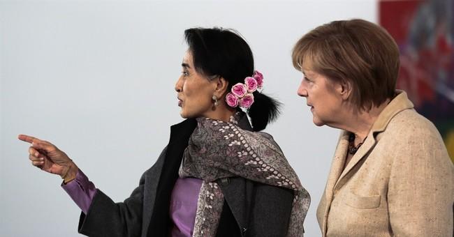 Suu Kyi, Germany's Merkel discuss Myanmar's future