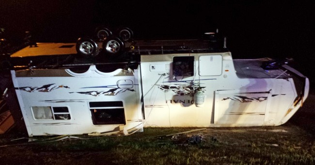 Storm topples RVs near Mississippi's Gulf coast