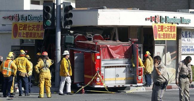 Firetruck rams California eatery; 15 injured