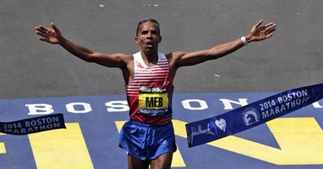 American Meb Keflezighi wins Boston Marathon