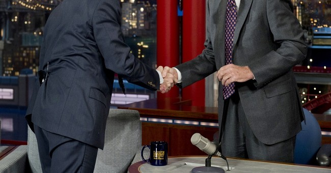 Letterman gets visit from his successor, Colbert