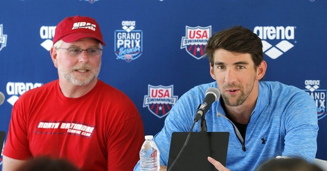 Phelps having fun in his return to swimming