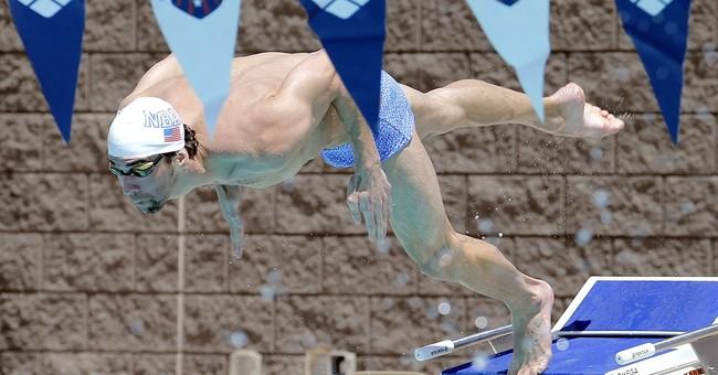 Phelps having fun in his return to swimming