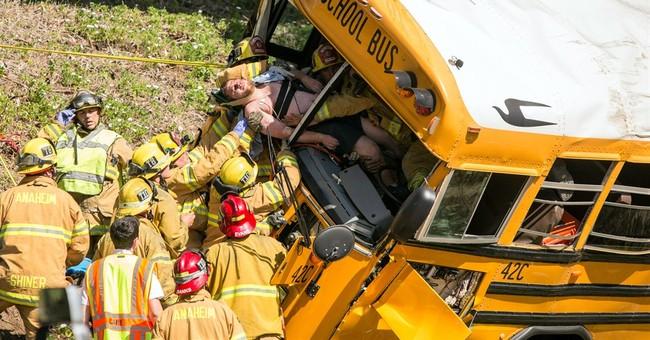 11 kids, driver hurt in Calif. school bus crash