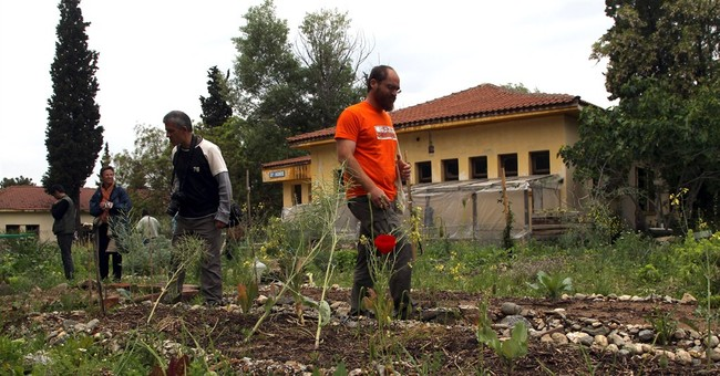 European volunteers help Greek 'bailout gardens'