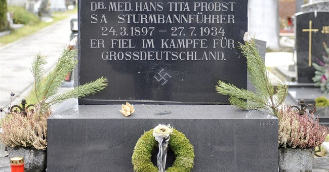 Swastika covered up on Austrian tombstone