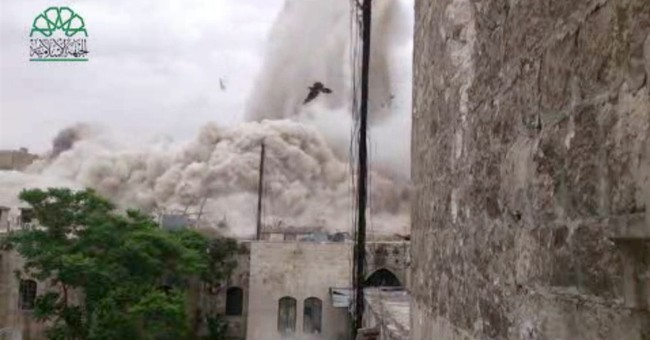 Rebels level historic Aleppo hotel in Syria