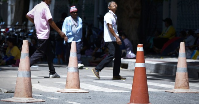 'Holy traffic cones' become symbol of Thai crisis