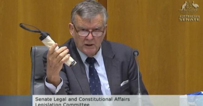 Australian senator produces fake bomb at hearing