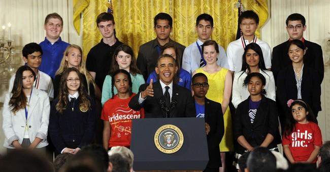 Self-effacing Obama hails science fair achievers