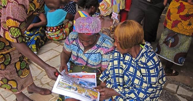Liberian women protest for dead husbands' benefits