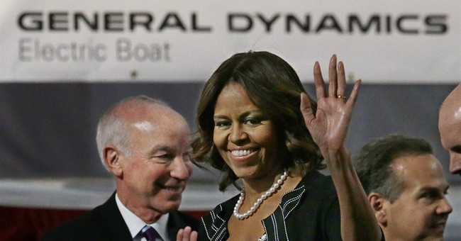 First lady helps lay keel for new submarine