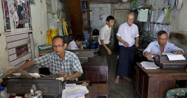 Typewriters, telegrams cling to life in Myanmar