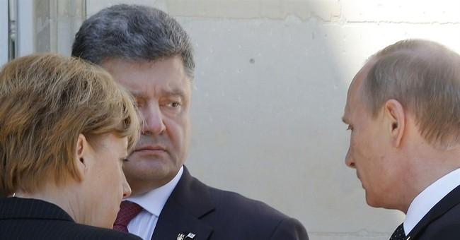 Putin, Poroshenko chat before lunch in Normandy