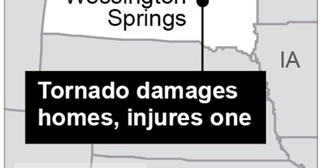 Tornado strikes SD town, razing homes; only 2 hurt