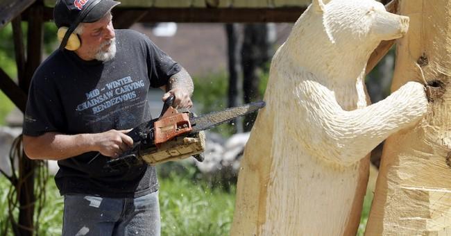 A man, a plan, a log, a chainsaw: bear sculptures