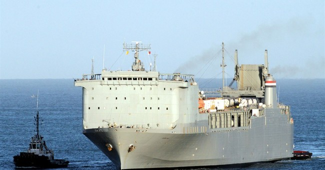 US ship arrives in Italy port for Syria weapons