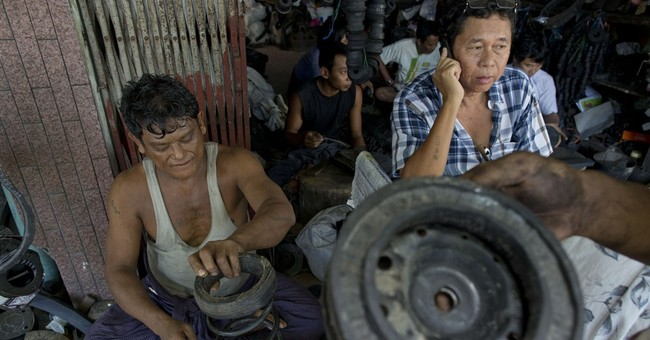 In Myanmar shops, old tires find many new lives