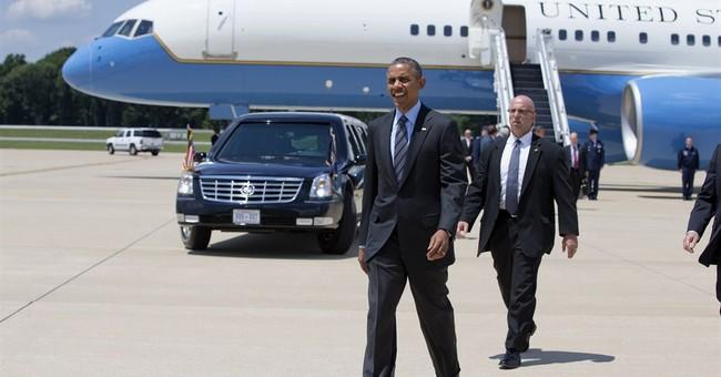 Obama pushes transportation money at closed bridge