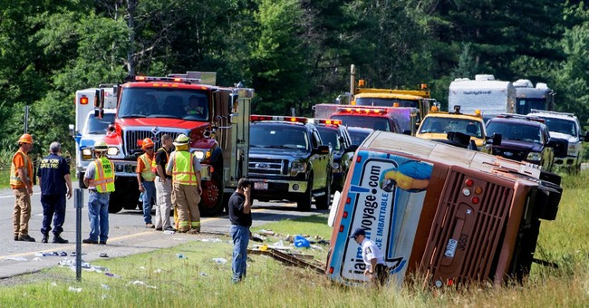 Canadian tour bus rolls over in NY; 1 dead