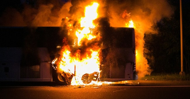 Tour bus catches fire in New Jersey; no injuries