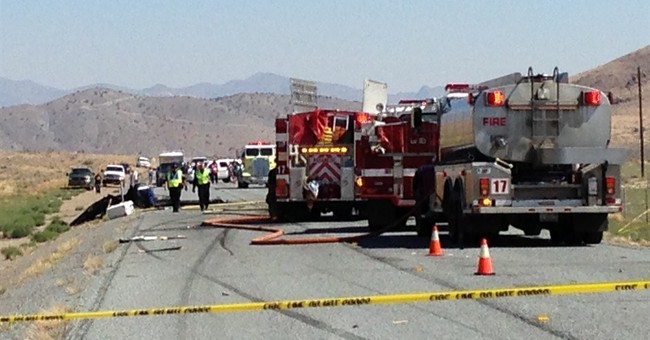 Plane hits truck as it lands on Nevada highway