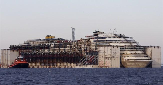 Costa Concordia wreck reaches final destination