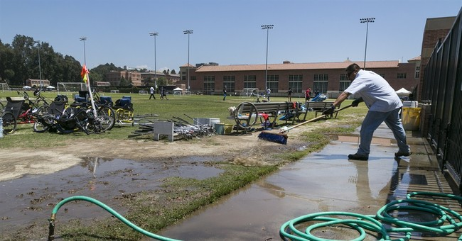 Repair of burst pipe close to completion near UCLA