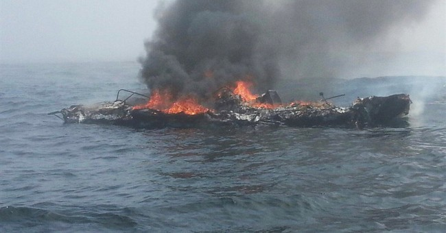 Hypothermic man rescued after boat catches fire