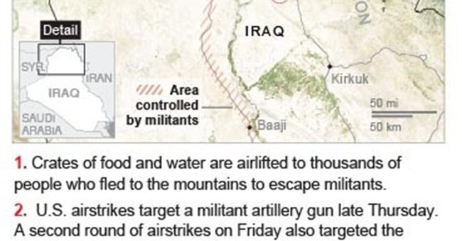 US aids displaced Iraqis as airstrikes help Kurds
