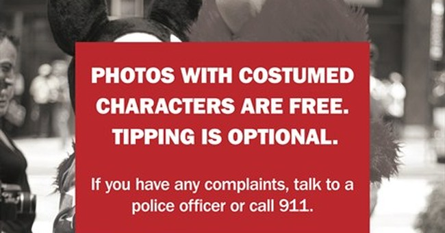 Times Square warnings cut into characters' tips