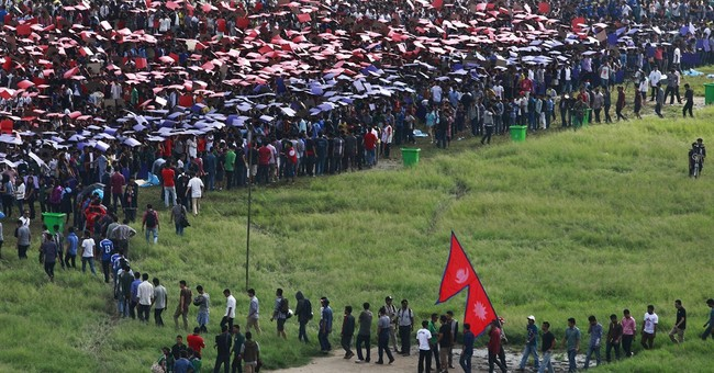 Thousands gather in Nepal for human flag record