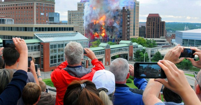 11-story Albany hotel demolished amid fireworks