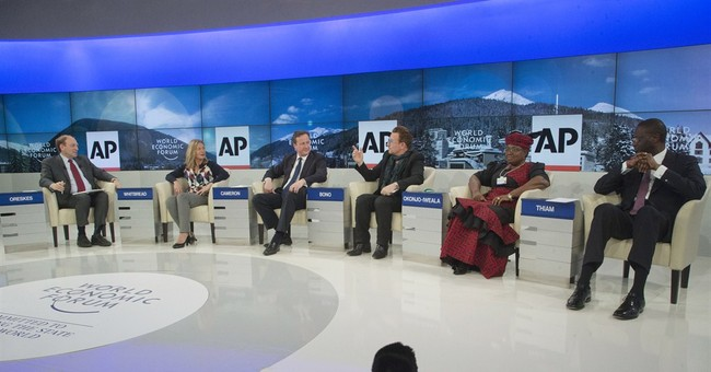 Cameron, Bono link poverty, climate at AP debate