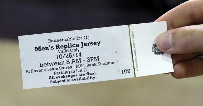 Ravens fans trade in their Rice jerseys at stadium