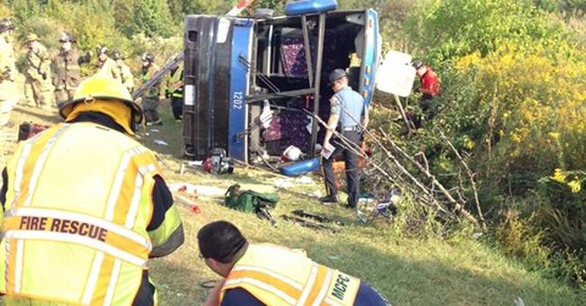 Del. authorities: Bus overturns, 1 dead, injuries