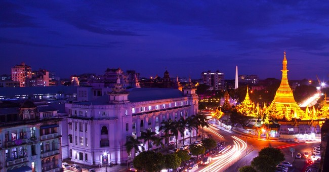Image of Asia: Night view in Yangon
