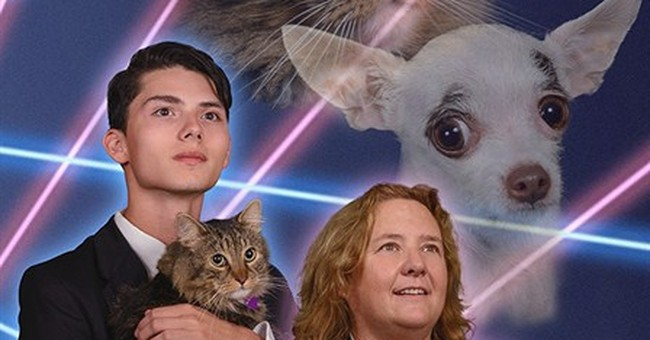 Cat, dog, lasers: A senior portrait to remember