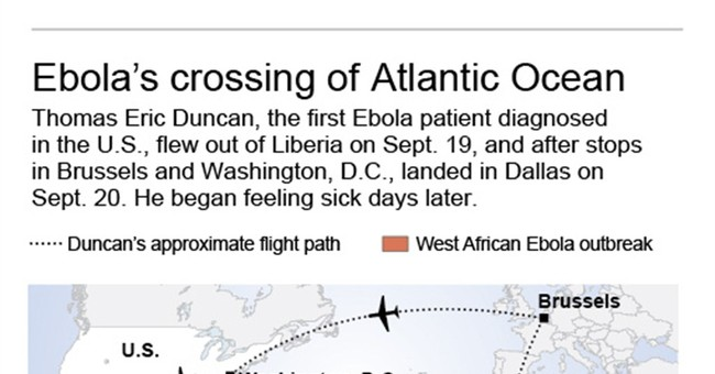 Man with Ebola virus flew roundabout trip to US