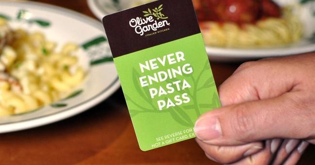 Olive Garden seen through an unlimited pasta pass