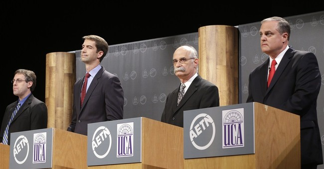Cotton, Pryor stick to familiar themes in debate