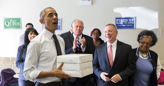On visit home, Obama looks backward and forward