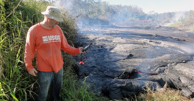 Lava creeps toward road on Hawaii's Big Island