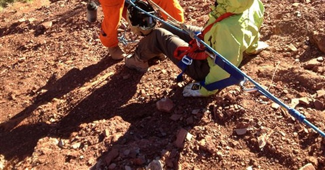 Hurt hiker rescued from cliff edge in Grand Canyon