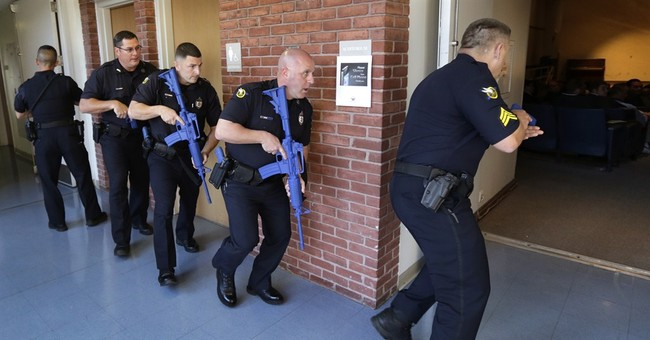 School demonstrates 'active shooter' system