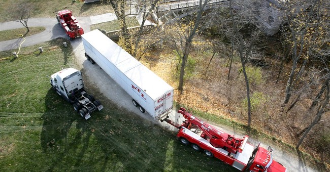 Tractor-trailer stuck in park, driver blames GPS