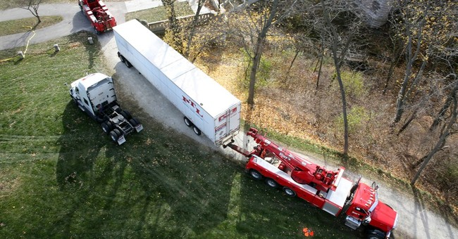 Tractor-trailer stuck in park, driver blames GPS