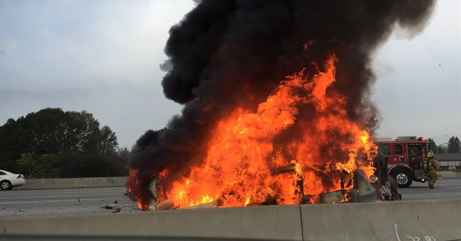 1 dies in fiery multivehicle crash on LA freeway